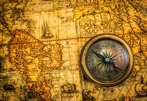 1500 world map and compass